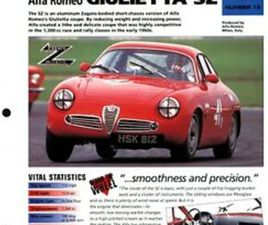 ALFA ROMEO GIULIETTA SZ (ITALY 59-63) SPEC SHEET 1998 HOT CARS SPORTS CARS #3.15