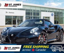USED 2016 ALFA ROMEO 4C COUPE ONE, OWNER, SPIDER TRACK PACKAGE, LOW MILEAGE!!!