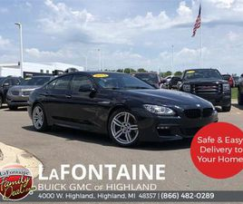 BLACK COLOR 2015 BMW 6 SERIES 640I XDRIVE GRAN COUPE FOR SALE IN HIGHLAND TOWNSHIP, MI 483