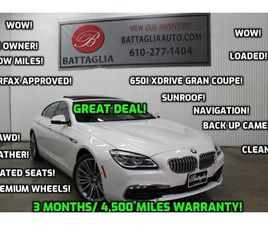 WHITE COLOR 2017 BMW 6 SERIES 650I XDRIVE GRAN COUPE FOR SALE IN PLYMOUTH MEETING, PA 1946