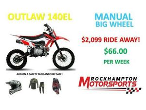 BRAND NEW OUTLAW 140EL MANUAL BIG WHEEL ELECTRIC START DIRT BIKE IN STOCK NOW!!!