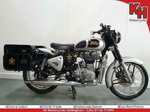 ROYAL ENFIELD BULLET CLASSIC 500 SILVER 2015 - LOW MILEAGE, METAL PANNIERS
